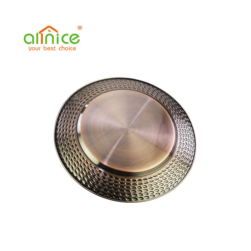 Stainless Steel 410 [ Fruit Tray Plate ] Bronze Rose Gold Gold Original Color Hot-selling Round Stainless Steel Serving Fruit Tray Dinner Plate