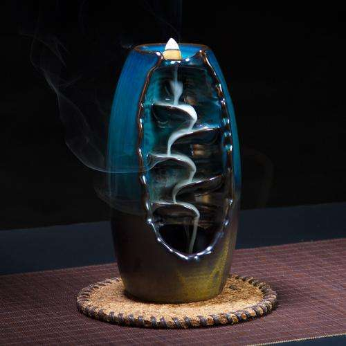 Porcelain Waterfall Backflow Incense Burner Incense Holder Home Decor Aromatherapy Ornament+ 10 Cone Incense Free