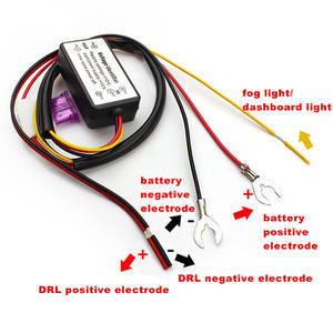 DRL Controller Auto Mobil LED Siang Hari Berjalan Lampu Relay Harness Dimmer On/Off 12-18 V Lampu Kabut controller LED DRL Relay Harness