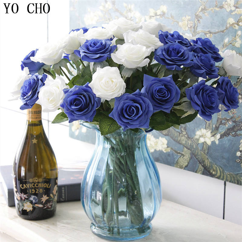 Wholesale artificial silk flowers rose wedding home decoration Rose love gift natural blue rose single flower