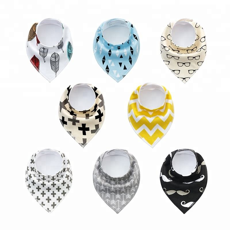Soft Reusable Washable 8Pcs/Set Cotton Fleece Funny Super Absorbent 2 Nickel-free Snaps Adjustable Drool Triangle Baby Bibs
