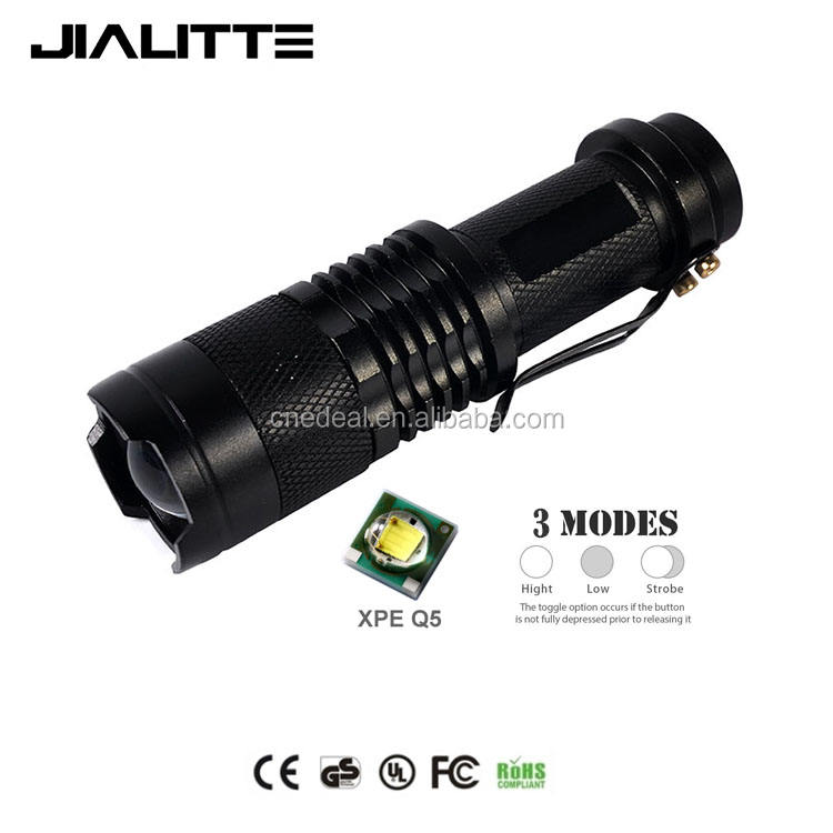 Jialitte F031 Crees XPE <span class=keywords><strong>Q5</strong></span> LED Zoomable Mini Torch dengan Klip Portabel LED Senter