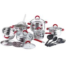 kitchen accessories set stainless steel cookware with bakelite mat and suction knob
