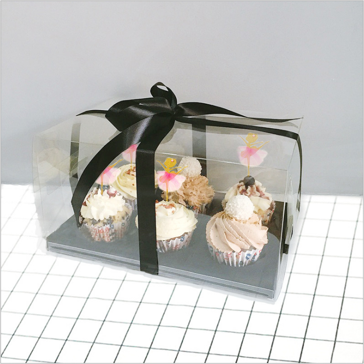 High Qualtity Transparent PVC 6 Cups CupCake Muffin Box Bakery Industry Use Food Grade Packaging Box