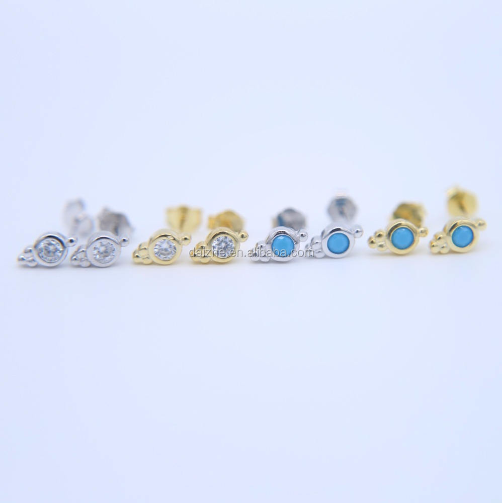 fashion 925 sterling silver mini cute single stone 4 colors pack small silver earring