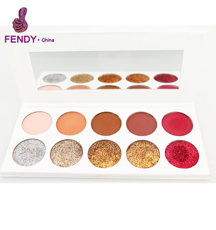 Private Label Maken Cosmetics 10 Kleur Geperst Glitter Eyeshadow Palette make palet