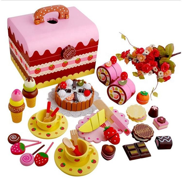 Afternoon Tea Sets Cake And Tea Chocolate Party Diy Pretend Candles Cutting Wooden Birthday Cake Toys