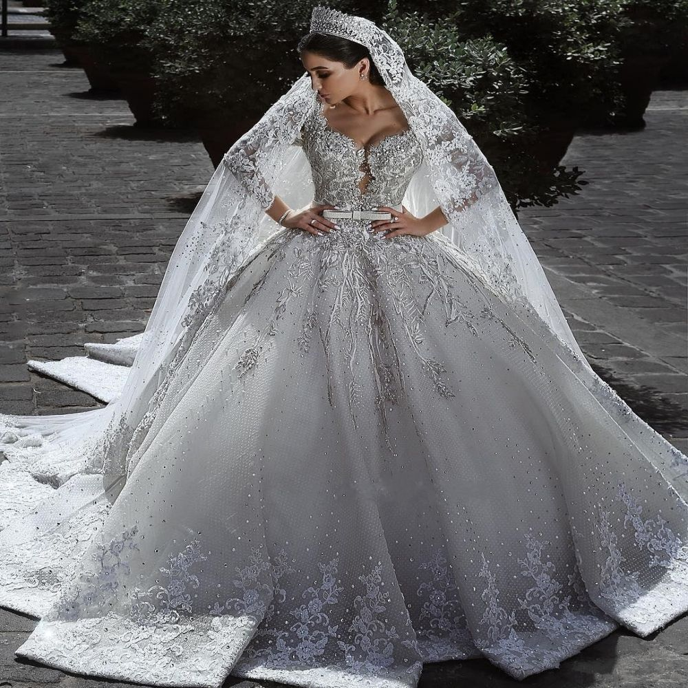 2020 Arabic Long Sleeve Ball Gown Wedding Dresses Lace Appliques Bridal Gowns