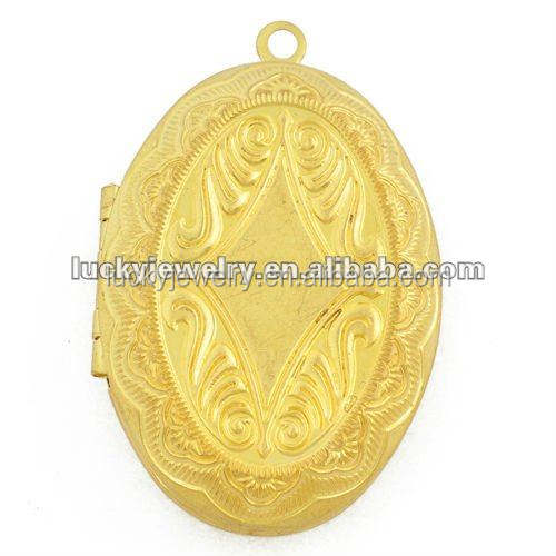 Vintage brass photo locket charms open oval glass locket for necklace