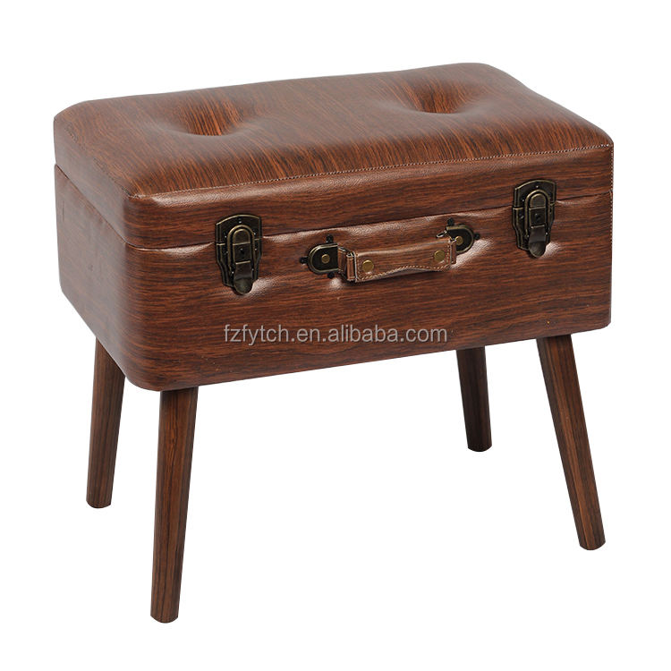 New Design Multipurpose Brown leather Suitcase Footstool