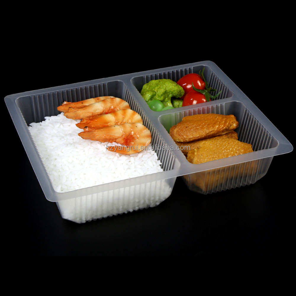 Disposable Bento Lunch Box 3 Compartment PP/PE Food Trays Catering Food Container