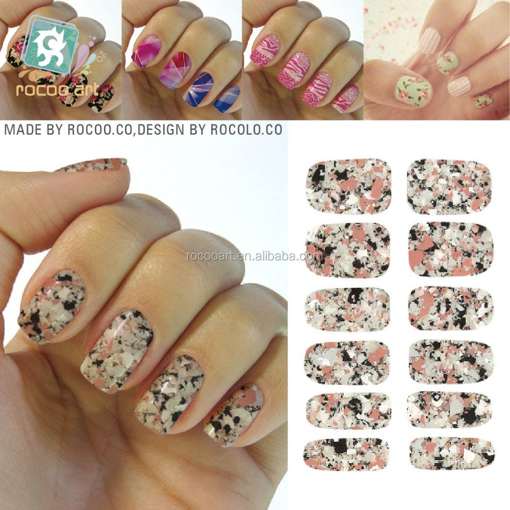 K5736/Manicure Tools Water Transfer Nail Foil Sticker Art Sexy Light Black Rose Marble Stone Rock Nail Wraps Sticker Decals