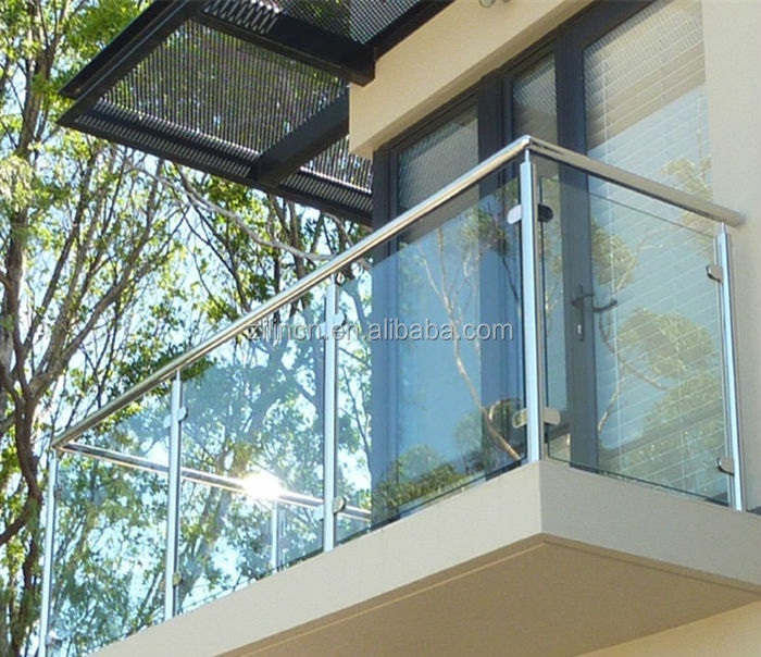 High quality modern terrace railing designs stainless steel balcony glass railing