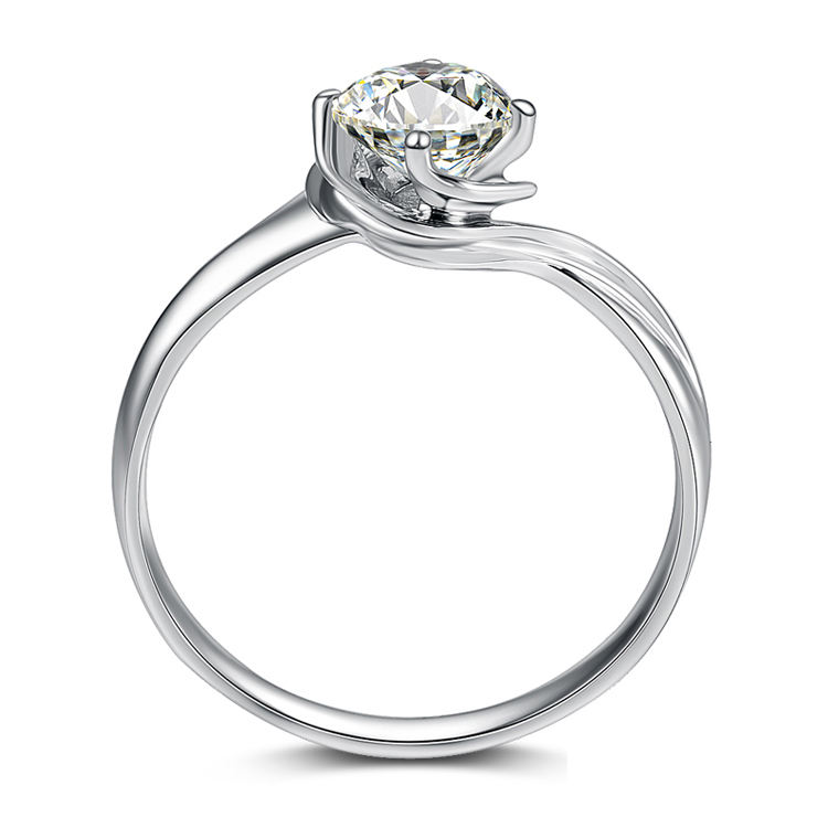 Diamond engagement ring round cut fine jewellery real 18k white gold wedding ring for women
