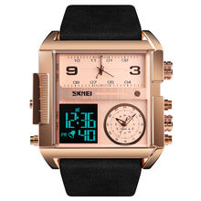 Wholesales skmei large dial digital analog watch 1391 leather wrist watches high quality mens sports wristwatch
