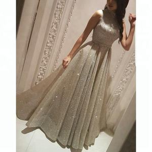 Modest High Neck Evening Dresses 2020 Latest Girls Ladies Gown Party Wear Dress A Line Lace Prom Gowns for Women