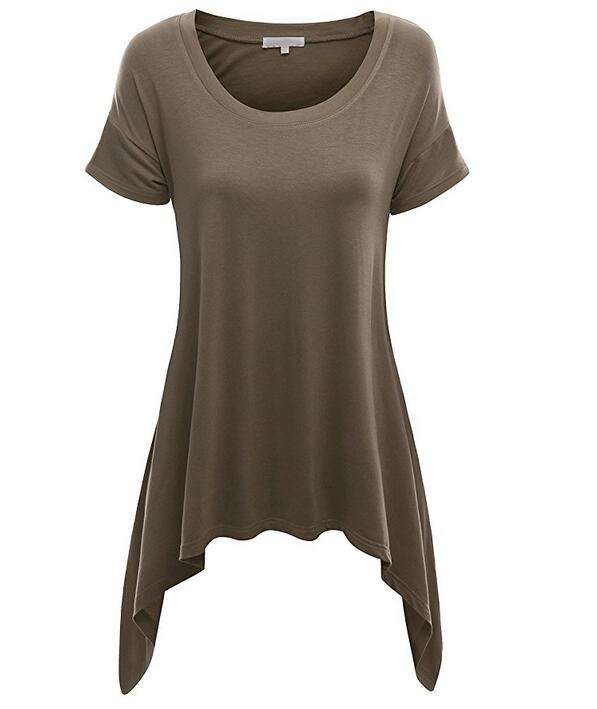OEM Womens Basic Short Sleeve Longline Asymmetrical loose Tunic Top