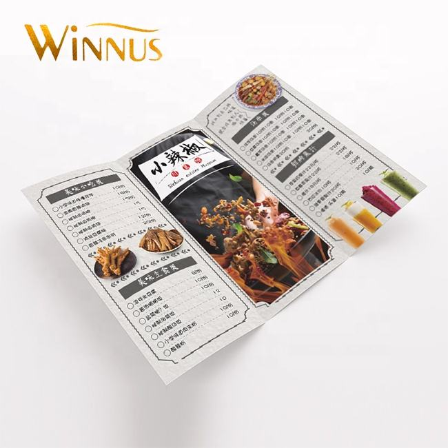 cheap custom service a3 a4 a5 a6 poster restaurant menu booklet brochure pamphlet folded leaflet flyer printing