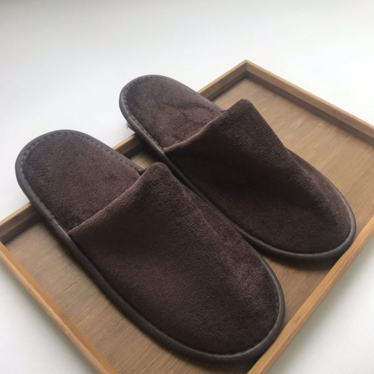 Single-use home use are color-free export worldwide brown full-polyester sheared slippers