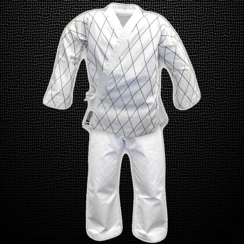 Martial Arts Medium Weight Diamond Stitch Black White Red Hapkido Uniforms Set