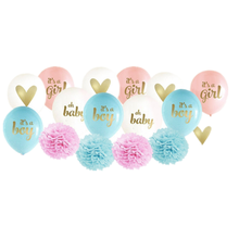 Baby shower Decorations pink blue ballons Boy or Girl banner Baby shower party supplies