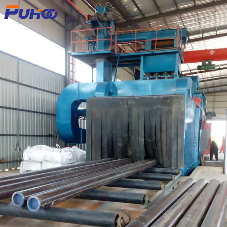 design steel pipe shot blasting machine, shot blasting machine for casting descaling