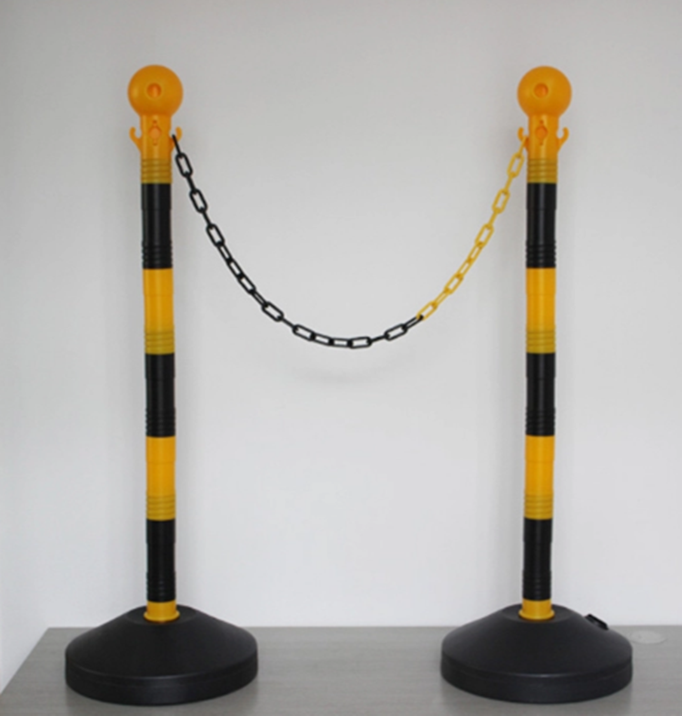 water or sand filled Crowd Control Rope Barrier Plastic Pole Barrier Traffic Plastic Stanchion