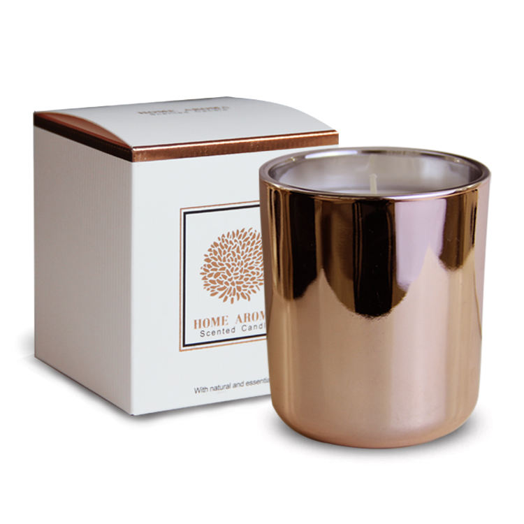 Rose gold Duft dekorative kerze box herausragende design glas rose gold kerze jar