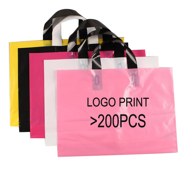 25*35cm Logo Printing HDPE Plastic Shopping Bag with Handle
