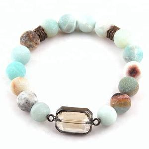 Mode 10mm Perles De Pierre Naturelle Cristal Amazonite Bracelet