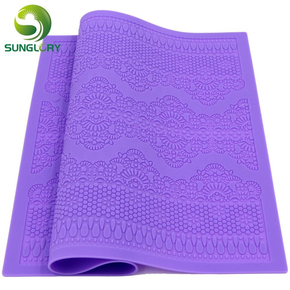 Flower Pattern Silicone Lace Mat Kitchen Sugar Lace Mold Silicone Baking Mat Wedding Decoration Fondant Cake Mold Color Purple