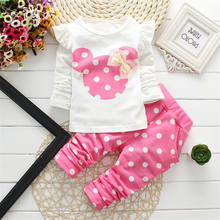 Hot selling autumn spring Mickey long sleeves 2 pieces set baby clothes newborn girl