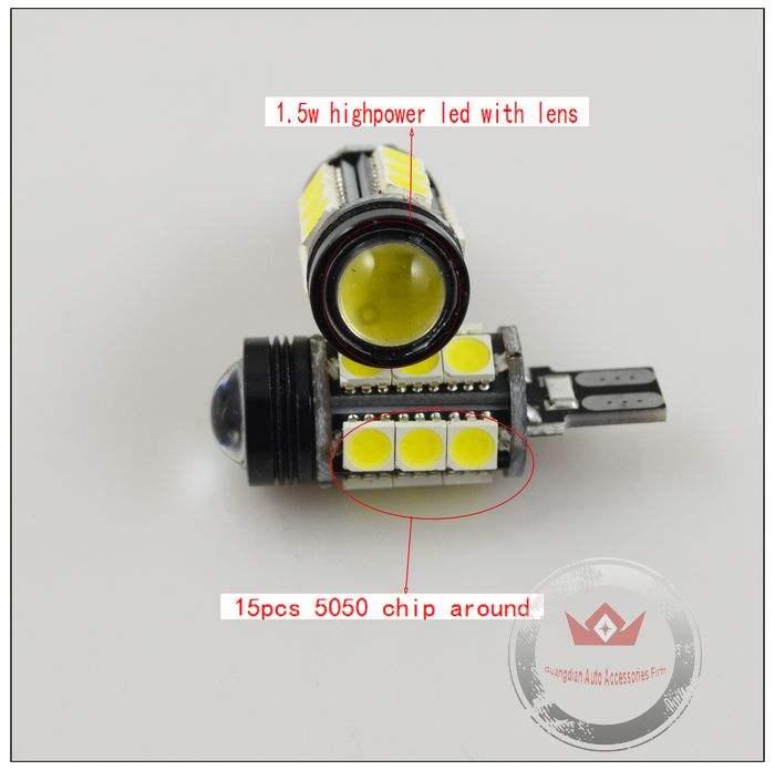超寿命!超光輝!CANBUS LED T15 バルブポジションランプLEDバルブ12V/16smd5050チップ付け超広角レンズ採用