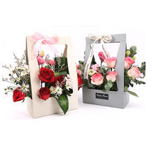 Portable Flower Box Packaging Paper Flower Basket Gifts Folding Paper Box Flower Supplies Wedding Party Decoration