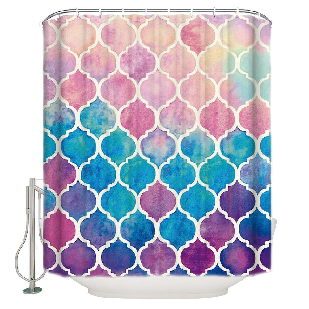 Rainbow Geometric Printing Plastic Shower Curtain Liners Private Bathing Shower Curtain