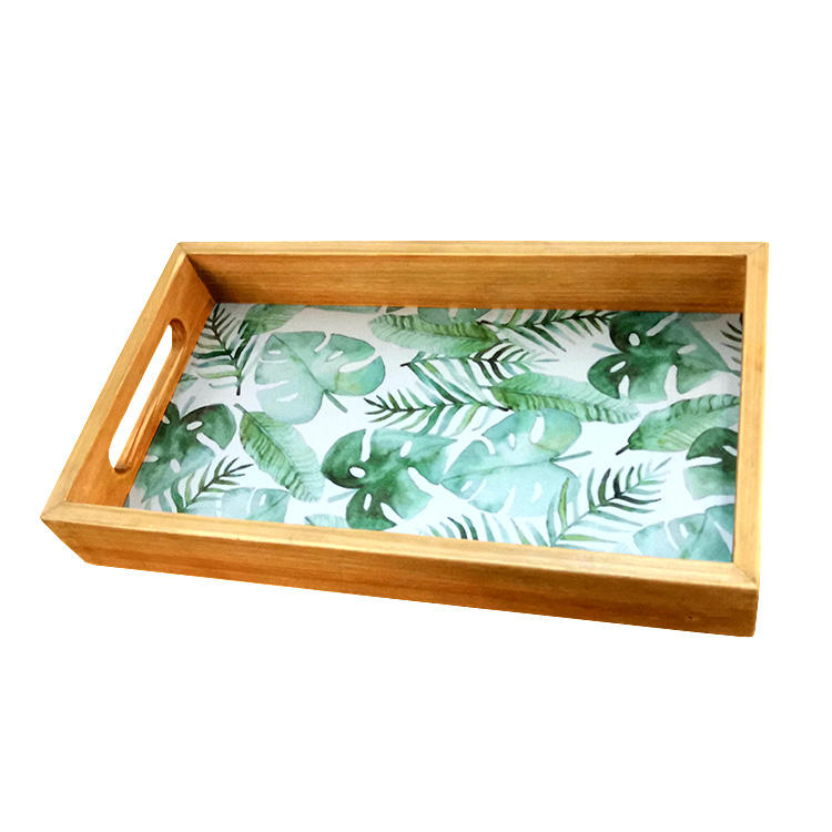 Wholesale style cheap small mini gift oem print painted room coffee table decor wood ottoman service tray