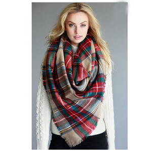 Fall Winter Za Design Over 200 colors Oversize Women Winter Acrylic Wrap Shawls Square Plaid Blanket Scarf