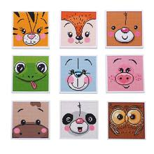 Kids educational painting toys DIY cartoon animals full drill diamond painting kits with mini white frame for children
