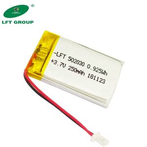 Factory Good price lithium polymer pl502030 0.925wh battery 3.7v 250mah for Electric massage apparatus;Electronic scale