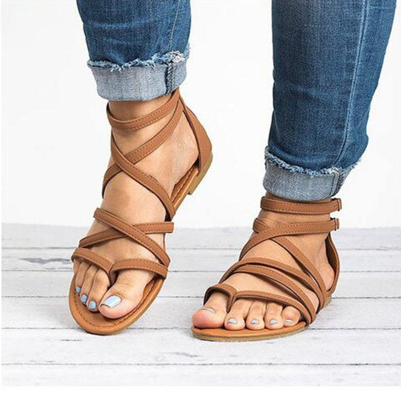 Fashion Gladiator Summer Rome Style Cross Tied Rope Women Sandals