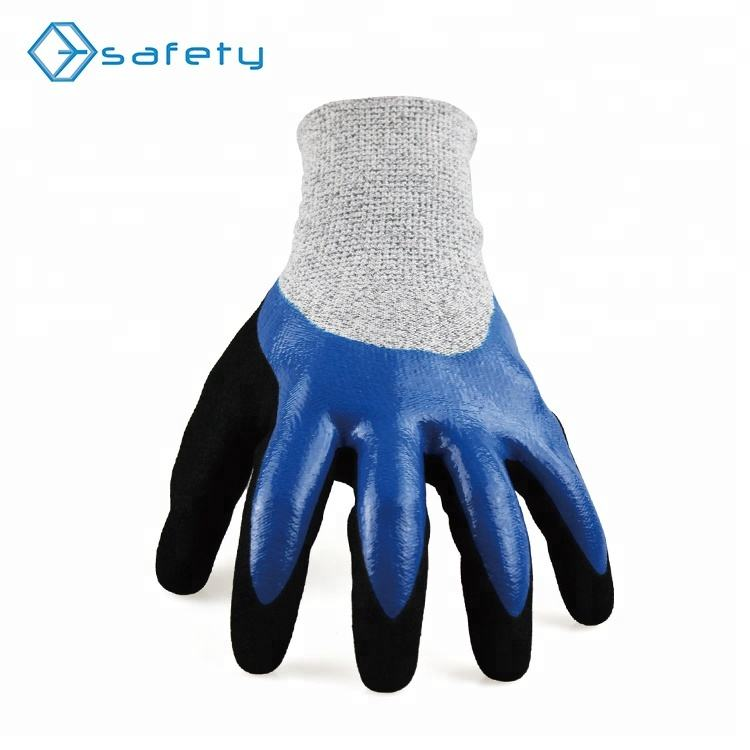 Abrasion Waterproof Cut Resistant 13g Hppe Fiber Knit Industrial Hand Gloves In China