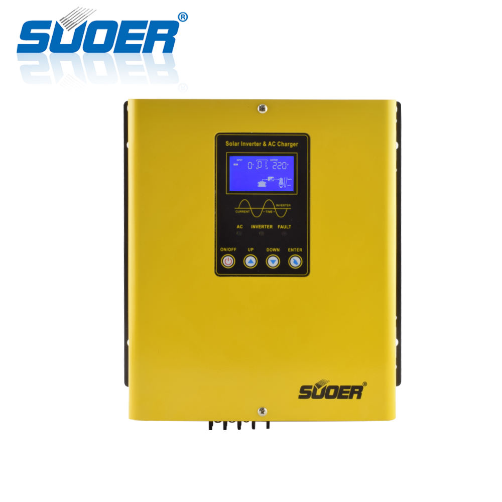 Suoer 1kva inverter 12v to 220v 1000W Off Grid Solar Hybrid dc ac Inverter with Charger PWM Controller