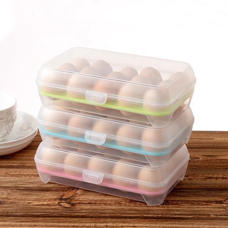 Home Kitchen Clear Plastic Storage 2 Layers Refrigerator egg tray