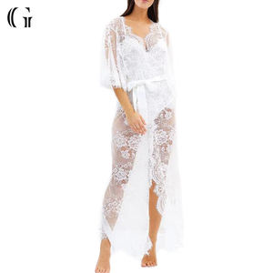 Long White Sexy Bridal Bride Bridesmaid Women Lace Robes