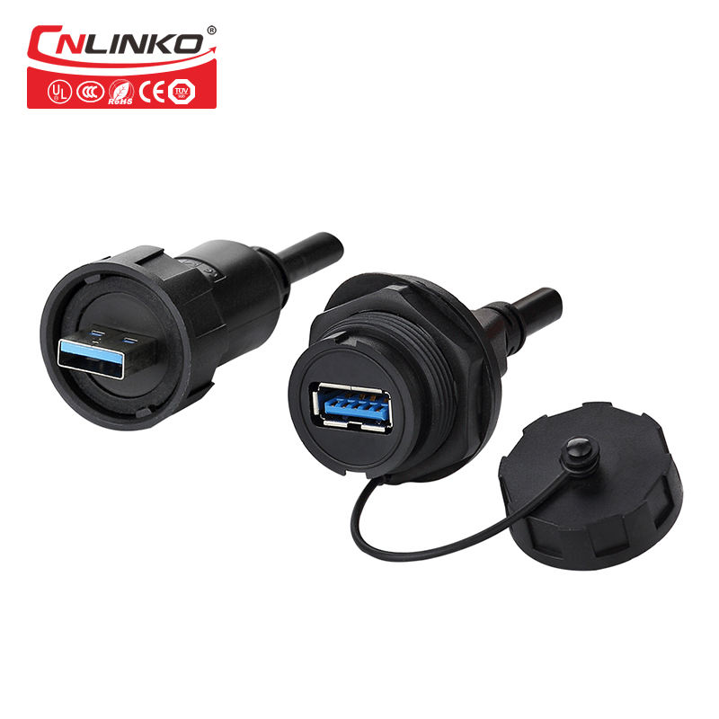 China Linko impermeable ip67 USB3.0 9 pin conectores macho a conector de cable USB hembra