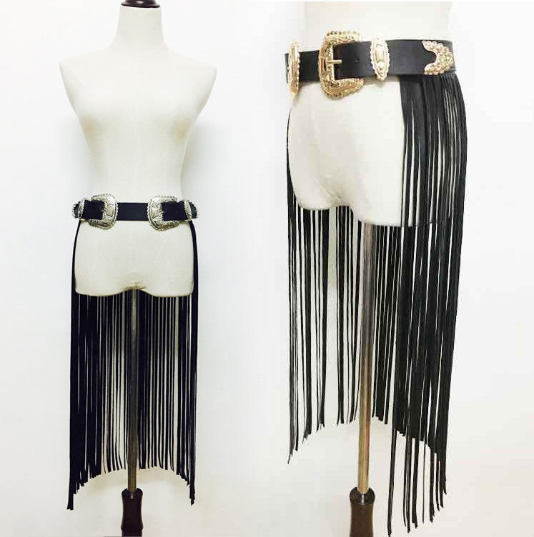 ZH1929A High quality new fashion Skirt Style Black Fringe Women Leather Belts