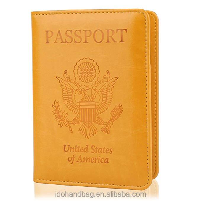 Fashionable Luxury PU Leather Women Travel Passport Holder Travel With Credit Card Holder