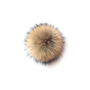 Promotion raccoon fur ball real fur pompom with snap natural raccoon pom pom