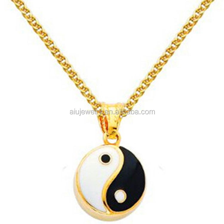 Wholesale Yin and Yang Enamel Charm Jewelry with Yellow Gold - Pendant Necklace Combination (Different Chain Lengths Available)