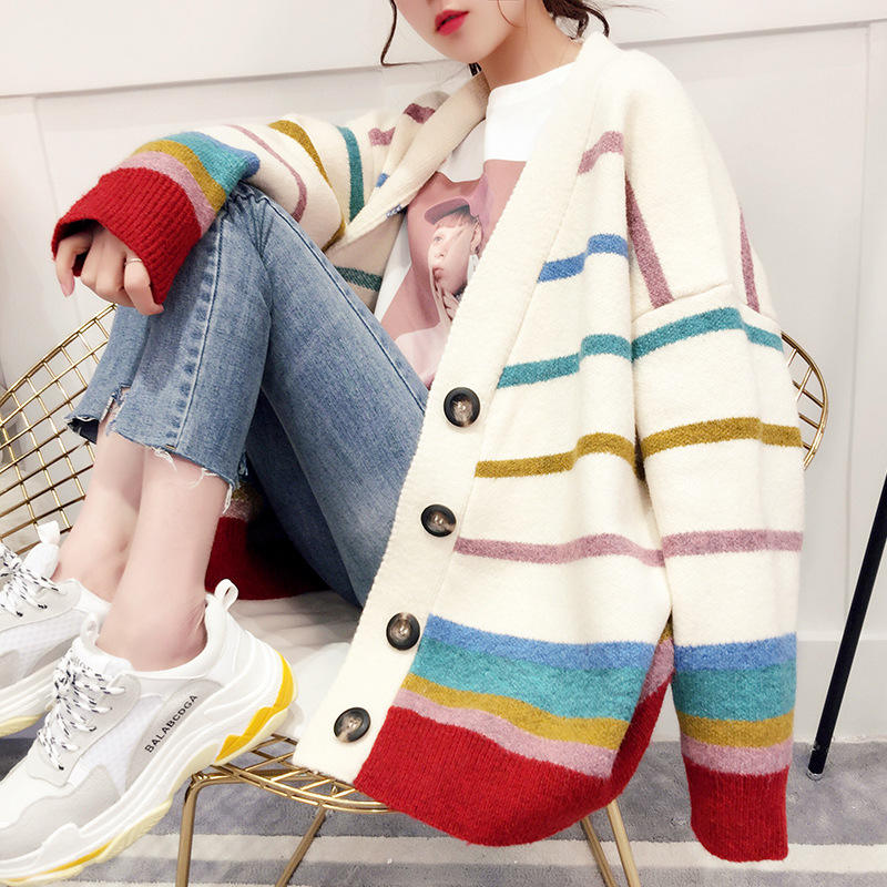 spring autumn casual v-neck front open buttons up rainbow stripe ladies cardigan sweater winter women knitted loose coat
